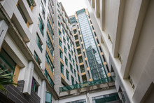 Low Angle View Of High Rise Residential Buildings In Taiwan