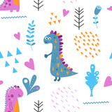 Fototapeta Dinusie - Childish seamless pattern with hand drawn dinosaurs in scandinavian style. Vector Illustration. Kids illustration for nursery design. Dino style trendy for baby clothes, wrapping paper.