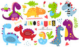Fototapeta Dinusie - Cute dinosaurs set. Hand drawn. Doodle cartoon dino characters for nursery posters, cards, kids t-shirts. Vector illustration. Isolated on white background.