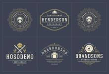 Restaurant Logos Templates Set...