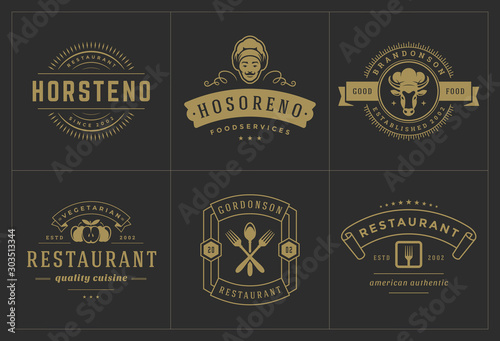 Restaurant logos templates set vector illustration good for menu labels and cafe Canvas Print