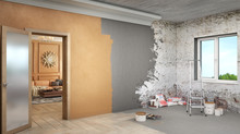 One Room Is  Already Renovated And The Second Room Is In Process Of Renovation, 3d Illustration