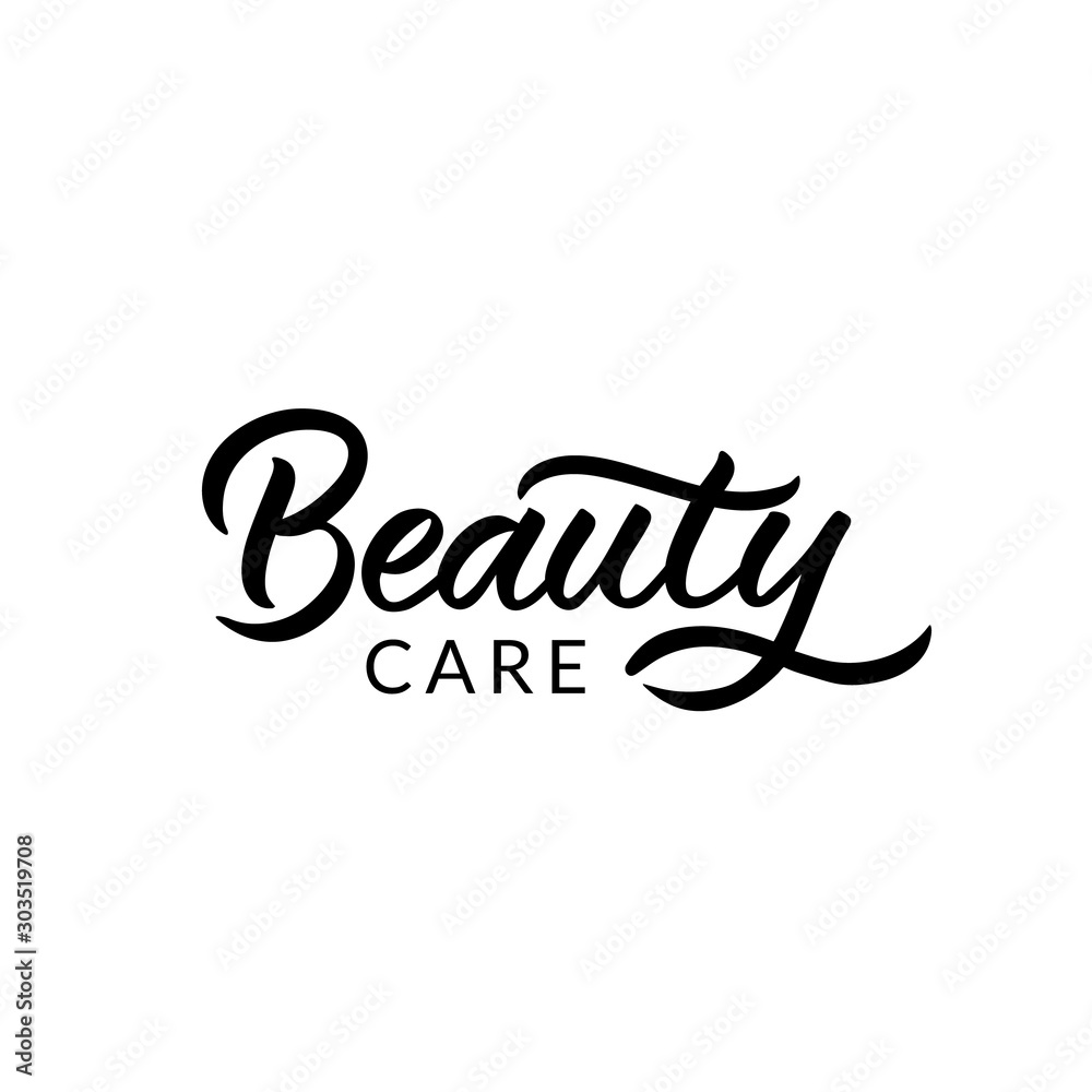 Fototapeta Hand drawn lettering logo. The inscription: Beauty care. Perfect design for greeting cards, posters, T-shirts, banners, print invitations.
