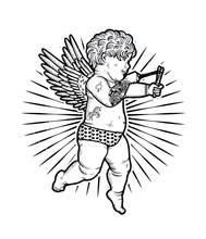 Cupid With Slingshot. Vector I...