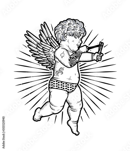 Fotografia Cupid with Slingshot. Vector Illustration. Valentine s Day.