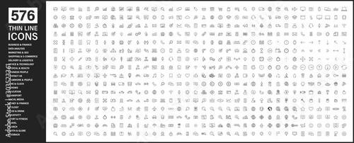 Cuadros en Lienzo Big collection of 576 thin line icon