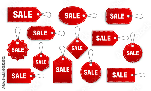 Fotografía  Set of sale tags and labels, template shopping labels