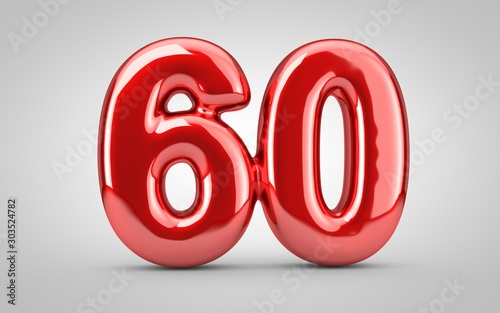 Red glossy balloon number 60 isolated on white background. Poster Mural XXL