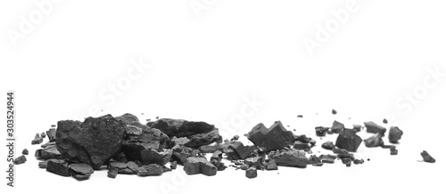 Foto op Plexiglas Brandhout textuur Coal chunks pile isolated on white background