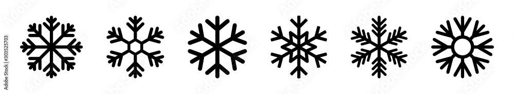 Obraz płatki śniegu zestaw ikon fototapeta, plakat