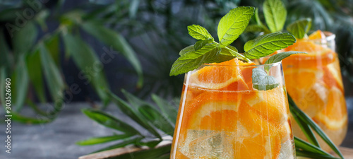 Obraz Homemade refreshing drink with soda and orange juice - fototapety do salonu