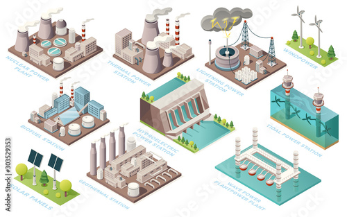 Fototapeta Alternative energy and power plants and green electric energy generation stations, vector isometric icons. Solar panels, bio fuel, thermal or geothermal, nuclear, tidal and water wave power stations obraz
