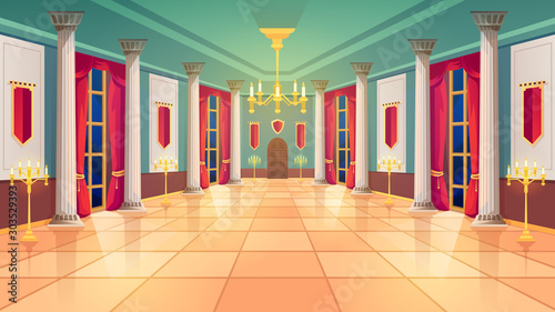 Fotografering Ballroom hall, Medieval palace room, royal castle interior, vector background