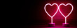 Leinwanddruck Bild - Two neon hearts