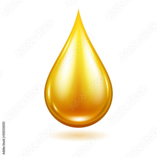 Fototapeta Oil drop vector illustration. Yellow liquid droplet. obraz