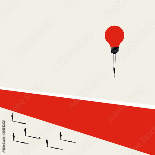 Business challenge overcoming vector concept with businessman flying over wall. Symbol of creative solution, leadership.
