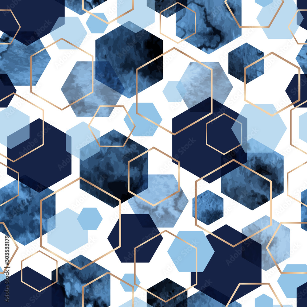 Fototapeta Seamless abstract geometric pattern with gold foil outline and deep blue watercolor hexagons