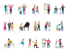 Creative Occupation. Artists Photographers Art Hobby Dancers Architect Decorator Florist Painter Vector Flat Characters. Hobby Art People, Drawing And Other Craft Illustration