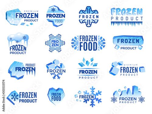 Obraz Ice product logo. Frozen food business identity blue vector cold graphic elements. Snowflake product, frozen temperature badge for refrigerator illustration - fototapety do salonu