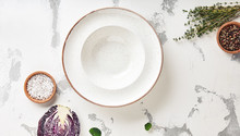 Empty White Plate On Table Top View