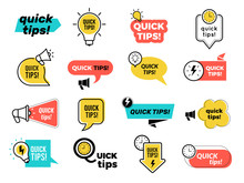 Quick Tips Badges. Graphic Stickers Ideas Reminders Quickly Thinks Solutions Learning Logos Vector Collection. Quick Tips Badge, Advice And Idea Illustration