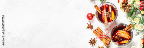 Spoed Foto op Canvas Thee Mulled wine with christmas decorations on white.