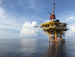 canvas print picture - Oil and gas wellhead remote platform produced raw gas and oil then sent to central processing platform to separate water,gas and condensate (gas).