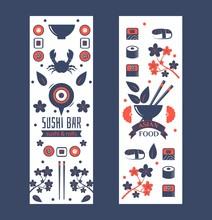 Sushi Bar Vertical Banner, Vec...