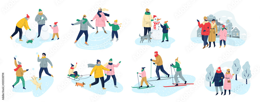 Fototapety, obrazy: People spend time outdoot at winter. People in warm clothes