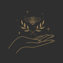 Vector Abstract Logo Design Template In Trendy Linear Minimal Style - Hands And Bee- Abstract Symbol For Cosmetics And Packaging, Jewellery, Hand Crafted Or Beauty Products