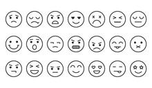 Different Emotions, Smile Face Icons, Outline Design. Vector Illustration
