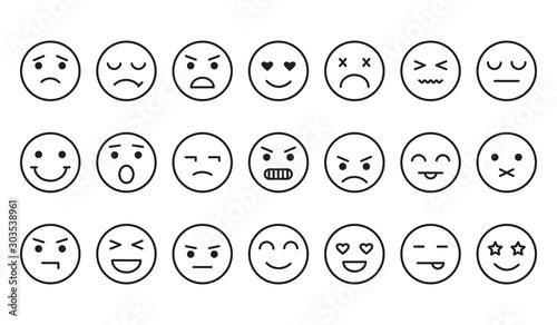 Canvastavla  Different emotions, smile face icons, outline design