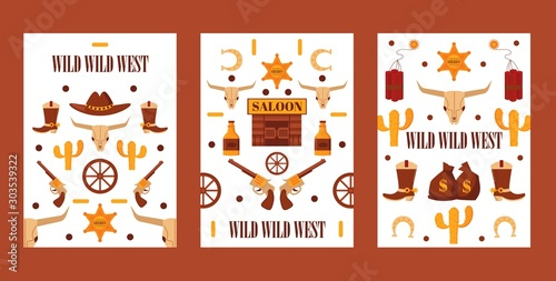 Wild West set of banners with isolated icons, vector illustration Wallpaper Mural