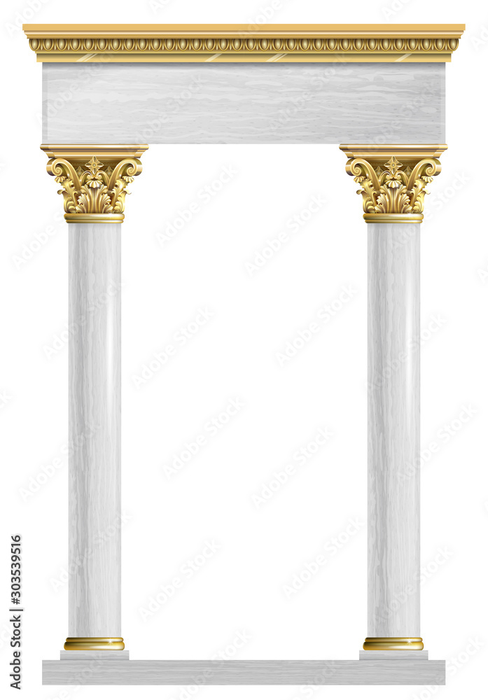 Fototapeta Golden marble arch portal Baroque