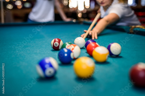 Colorful billiard balls on table in pub macro photo Fotobehang