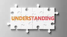 Understanding Complex Like A Puzzle - Pictured As Word Understanding On A Puzzle Pieces To Show That Understanding Can Be Difficult And Needs Cooperating Pieces That Fit Together, 3d Illustration