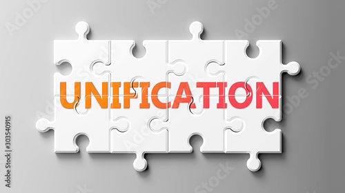 Obraz na plátně Unification complex like a puzzle - pictured as word Unification on a puzzle pie