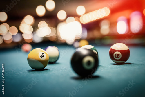 Fototapeta Billiard balls on table