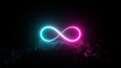 canvas print picture Futuristic retro Infinite sign neon light glowing on rocky ground, 3d render, black background, Pink blue color.