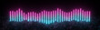 canvas print picture Futuristic retro neon lines light glowing on rocky ground, equalizer style, large banner, 3d render, black background, Pink blue color.