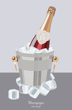 Red Champagne Bottle With Two Crystal Wine Glasses In An Ice Bucket, Sparkling Wine, Celebratory Drink, Birthday Drink,  Vector Illustration.