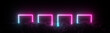 canvas print picture Futuristic retro square neon light glowing on rocky ground, large banner, 3d render, black background, Pink blue color.