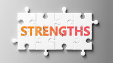 Strengths Complex Like A Puzzle - Pictured As Word Strengths On A Puzzle Pieces To Show That Strengths Can Be Difficult And Needs Cooperating Pieces That Fit Together, 3d Illustration