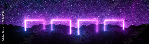 Cuadros en Lienzo  Futuristic retro square neon light glowing on rocky ground, large banner, 3d render, space starfield background, purple color