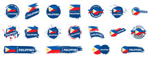 Vector Set Of Flags Of Philippines On A White Background
