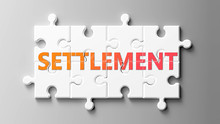 Settlement Complex Like A Puzzle - Pictured As Word Settlement On A Puzzle Pieces To Show That Settlement Can Be Difficult And Needs Cooperating Pieces That Fit Together, 3d Illustration