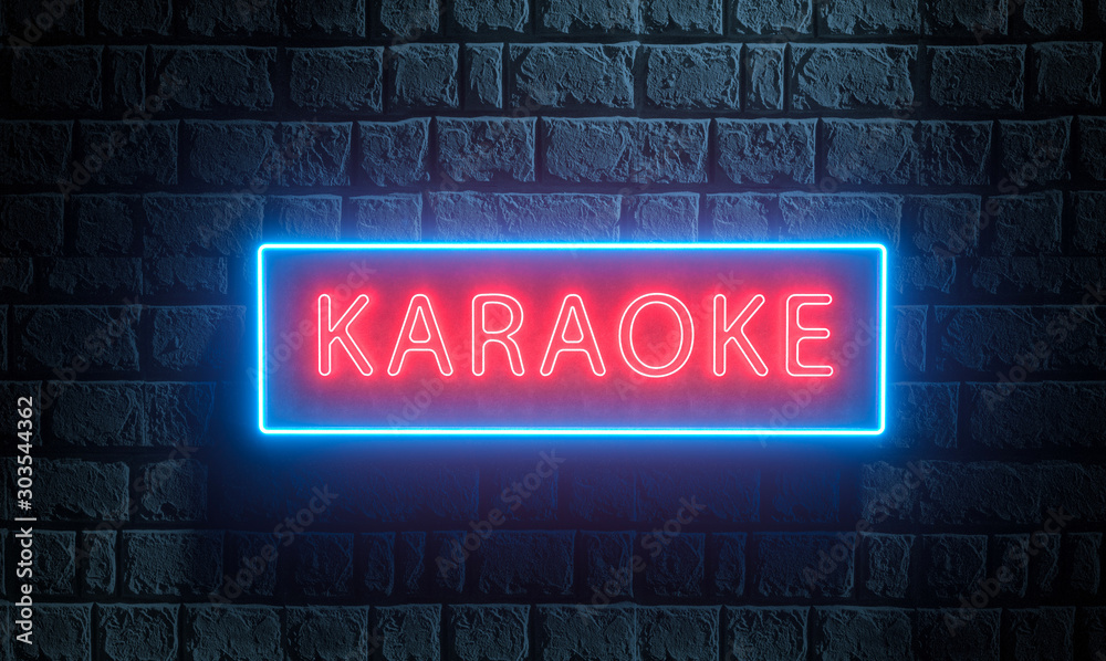 Fototapety, obrazy: 3d render of light night street neon Karaoke sing on brick wall. Advertising signboard for karaoke music bar, night club, disco night, retro party, show, live music