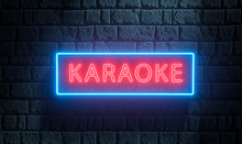 3d Render Of Light Night Street Neon Karaoke Sing On Brick Wall. Advertising Signboard For Karaoke Music Bar, Night Club, Disco Night, Retro Party, Show, Live Music