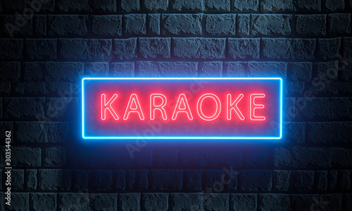 Obraz 3d render of light night street neon Karaoke sing on brick wall. Advertising signboard for karaoke music bar, night club, disco night, retro party, show, live music - fototapety do salonu