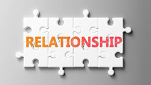 Relationship Complex Like A Puzzle - Pictured As Word Relationship On A Puzzle Pieces To Show That Relationship Can Be Difficult And Needs Cooperating Pieces That Fit Together, 3d Illustration